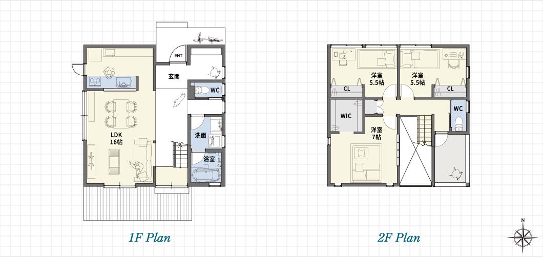 1F Plan 2F Plan nest「Fの家」中川モデルハウス