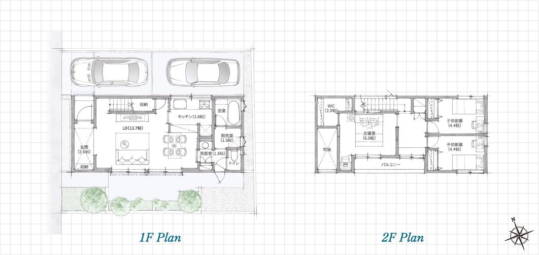 1F Plan 2F Plan 立川一番町の家(Fの家)