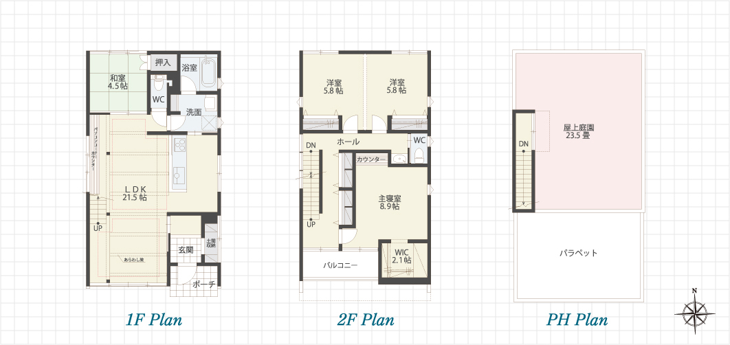 1F Plan 2F Plan PH Plan 一宮の家