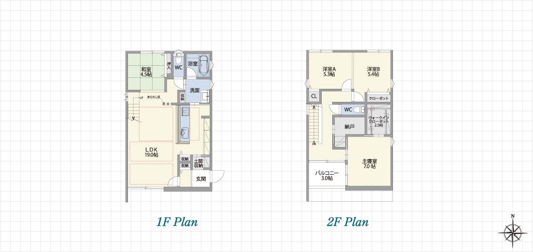 1F Plan 2F Plan 中川上流の家