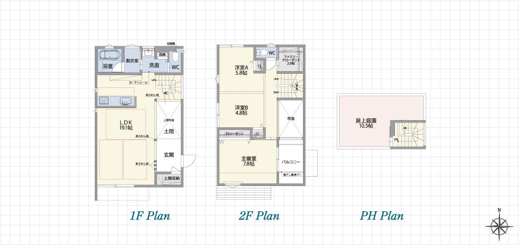 1F Plan 2F Plan PH Plan 中川上流の家B