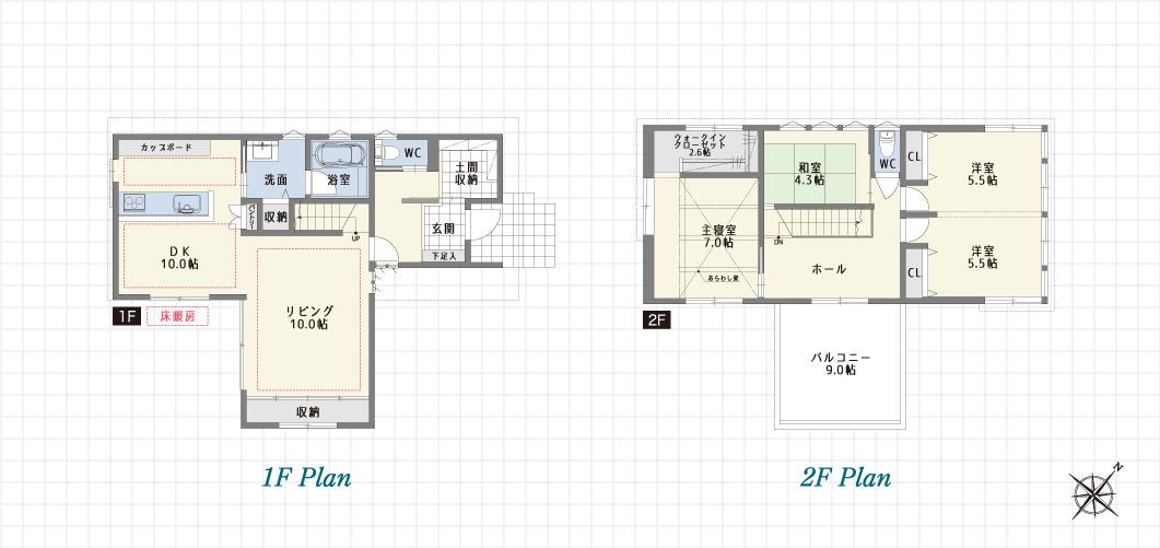 1F Plan 2F Plan PH Plan 春日井柏原の家