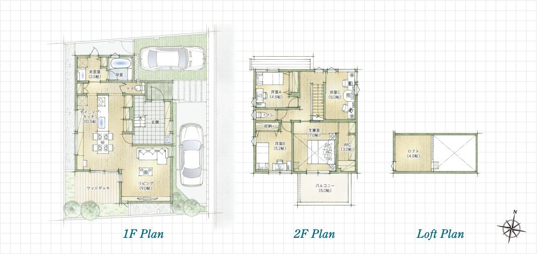 1F Plan 2F Plan Loft Plan 杉並久我山の家