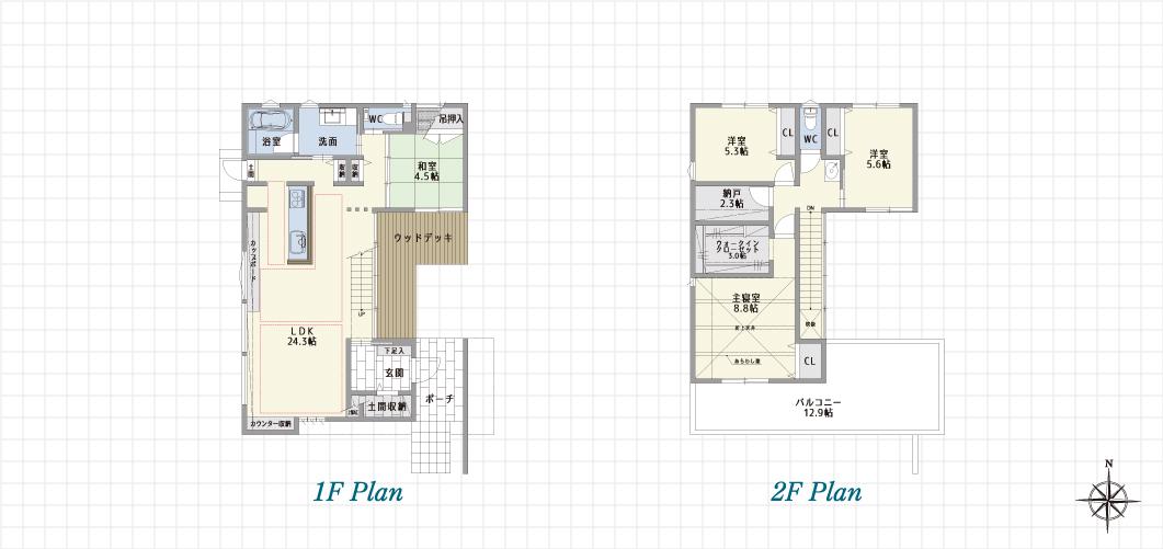1F Plan 2F Plan 長久手前熊の家A