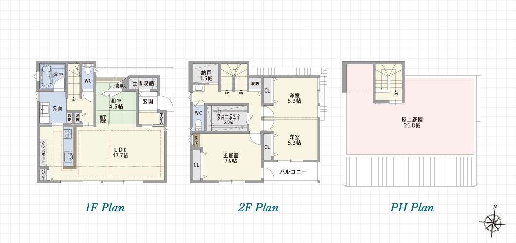 1F Plan 2F Plan 3F Plan 長久手前熊の家B