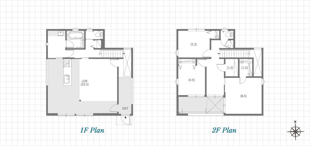 1F Plan 2F Plan 長久手前熊の家(Fの家)