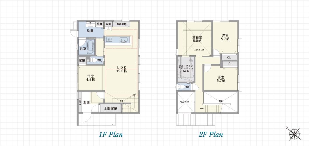 1F Plan 2F Plan 緑区鳴海の家