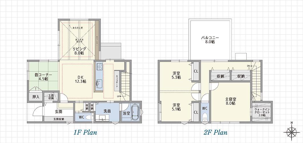 1F Plan 2F Plan 豊川白鳥の家