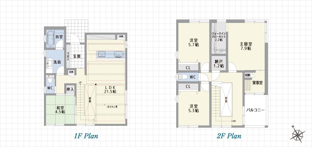 1F Plan 2F Plan 岡崎若宮の家